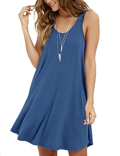 MOLERANI Women's Casual Swing Simple T-shirt Loose Dress, X-Large,  Beja Blue