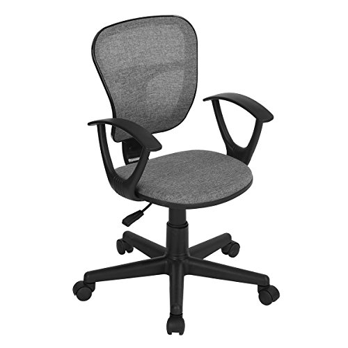 PexFix Mid-Back Fabric Home Office Chair with Armrests, Adjustable Height Ergonomic Chair for Students Teens Children Computer Gaming Chair – Grey