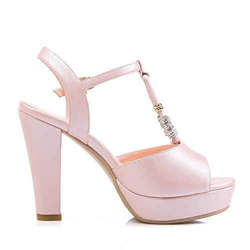 AmoonyFashion Womens Pu Solid Buckle Open Toe High Heels Sandals with Metal Ornament Pink UTC1iMk