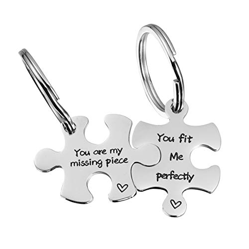 omodofo Valentine's Day His and Hers Puzzle Piece Pendant Necklace Keychain Set Personalized Couples Stamped Chain Keyring (You are My Missing Piece & You fit me Perfectly (Keychain))