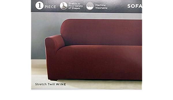 Awesome Surefit One Piece Stretch Twill Sofa Slipcover Red Wine Inzonedesignstudio Interior Chair Design Inzonedesignstudiocom