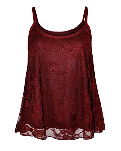 Glamour Babe - Camiseta moldeadora - Floral - Sin mangas - para mujer Wine-Top