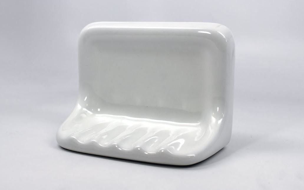 Squarefeet Depot Bath Accessory Shower Soap Dish White Ceramic Thinset Mount by Squarefeet Depot