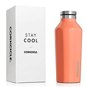 Corkcicle Canteen Classic Collection-Water Bottle & Thermos-Triple Insulated Shatterproof Stainless Steel, 25 oz, Gloss Peach Echo