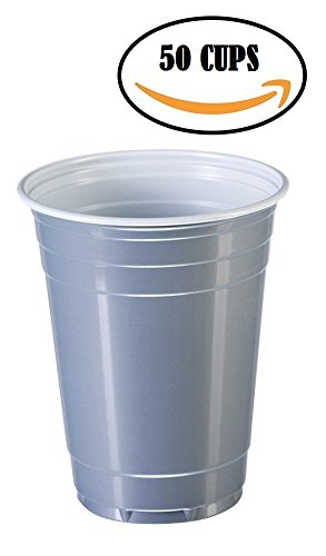 Goodtimes Big Party Pack 50 Count Disposable Plastic Cups, 16-Ounce (Silver)