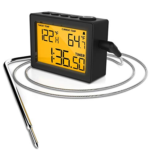 (CAPPEC KTH06 Digital Meat Thermometer with High/Low Temperature Alarms for BBQ Grill Oven Smoker, Count UP/Down Kitchen Timer and Stopwatch with Stainless Steel)