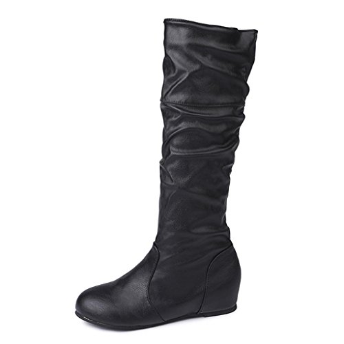 Amiley Womens Knee High Stretch Boot Trendy High Heel Shoe Pullon Boot Comfortable Easy Heel Black Pscle