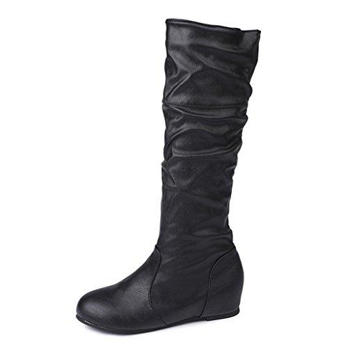 Amiley Kvinners Kne Høye Strekning Boot Trendy Høy Hæl Sko Pullon Støvelen Komfortabel Enkel Hæl Svart