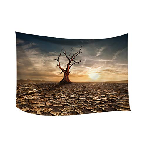 Tree Decor Tapestry, Tropical Beach Under Shadow at Sunset Ocean Waves Serenity in Natural Paradise, Wall Hanging for Bedroom Living Room Dorm