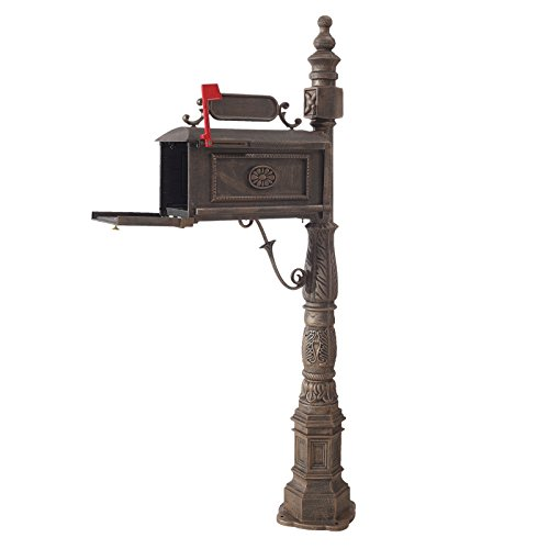 Classic Pedestal Mailbox Package (Eight24hours Classic Aluminum Vertical Pedestal Cast Postal Box Decorative Mailbox Bronze)