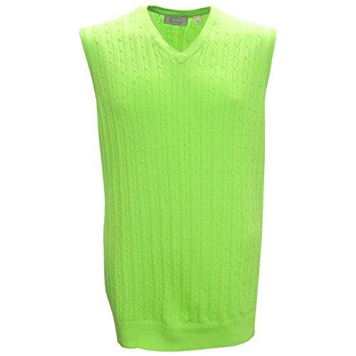 V-neck Sweater Vest Performance (McIlhenny Cable Knit V-Neck Golf Sweater Vest by Tabasco, Medium Apple Green)