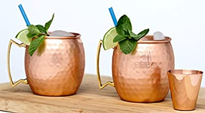 Moscow Mule Copper Mugs - 15 Mule Recipes eBook - 100 % Solid Copper 2 Cups Handmade Hammered - Non Nickel -IDEAL & UNIQUE Gift- 16 oz 2 Mugs PLUS A Shot Glass