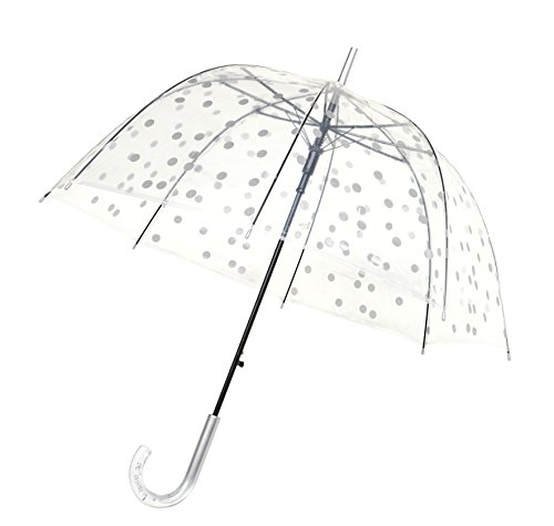 SMATI Stick Clear Umbrella - Windproof - Birdcage Dome See Through (Silver)
