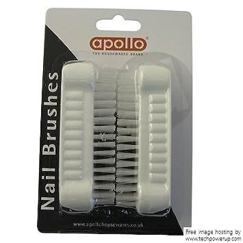 Apollo Plastic Nail Brushes, Set of 2 White B007R2I4BQ