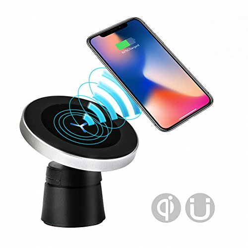Grover Stand - Luxury Magnetic Wireless Car Charger Mount, Qi Standard Mobile Cell Phone Air Vent And Dashboard Magnet Car Holder Cradle And Stand For Iphone 8 X Samsung Galaxy Note 8, S8 Plus and Qi Enabled Devices