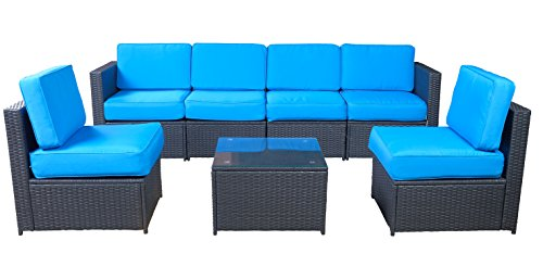 MCombo 6085 7 PC Cozy Outdoor Garden Patio Rattan Wicker Furniture Sectional Sofa (Blue)