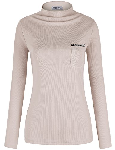 MOQIVGI Mock Neck Tops For Women, Lady Unique Cozy Slim Fit Pastel Blouse Long Sleeve Ribbed Essential Sweatshirt Chic Simple Basic Soft Shirts Girls School Office Home Wear Clothes Apricot (School Essential T-shirt)
