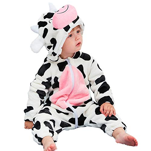 Baby Animal Costume for Halloween - Unisex Infant Winter Autumn Flannel Cartoon Hooded Romper Toddler Cosplay Jumpsuit(Cow, Tag90)
