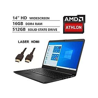 2020 Newest HP 14 Inch Premium Laptop, AMD Athlon Silver 3050U up to 3.2 GHz(Beat i5-7200U), 16GB DDR4 RAM, 512GB SSD, Bluetooth, Webcam,802.11AC WiFi,Type-C, Windows 10 S, Jet Black + Laser HDMI