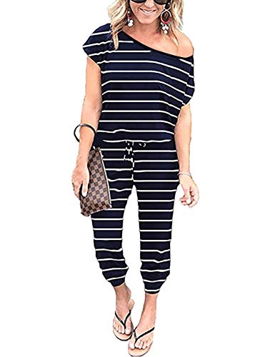 PRETTYGARDEN Women Loose Solid Off Shoulder Elastic Waist Stretchy Long Romper Jumpsuit with Pockets