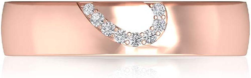 Anillo de boda de novia con certificado IGI con medio corazón, con grabado en oro, anillo de compromiso con diamantes IJ-SI, anillo ancho para mujer