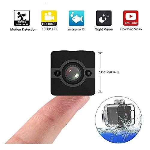 Mini Spy Hidden Camera, Waterproof Extreme Full HD Camera with 155° Wide-Angle Lens, Nanny/Housekeeper Cam with Night Vision & Motion Detection, Sports Action Cam with Mounting Accessories Kit For Sale