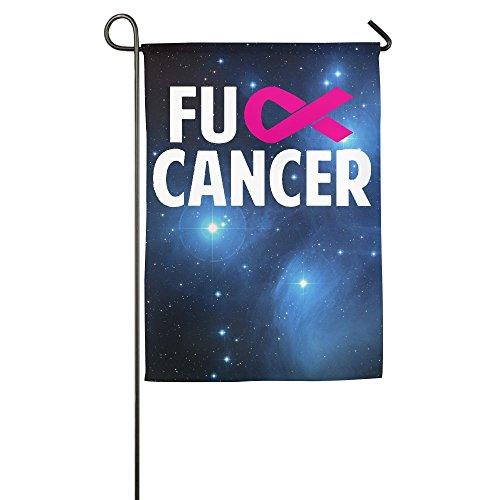 Aware Pink Ribbon (Qydoop-14 Polyester Garden Flag, Fuck Cancer Pink Ribbon House Flag For Thanksgiving Home Outdoor Garden Decor)