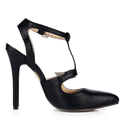 Best 4U® Sandali con cinturino a T di alta qualità estiva PU per donna. Punta a punta 12CM