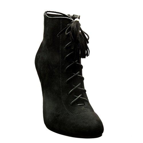 Angkorly - Chaussure Mode Bottine low boots sexy femme pom-pom frange lacets Talon haut aiguille 10.5 CM Noir 2017awH