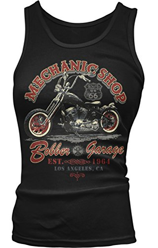 Amdesco Junior's Bobber Garage Mechanic Shop Motorcycles Tank Top, Black XL Boy Beater Womens Tank Top