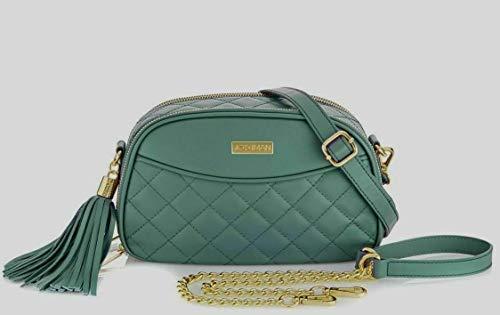 Joy & Iman, Diamond Quilted Genuine Leather Crossbody Bag with RFID, Evergreen