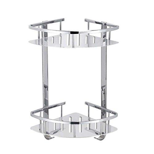 Two Tier Corner Basket (Foccoe Bathroom Shower Shelf Stainless Steel Shower Storage Organizer shelf, Wall Mounted 2-Tier Corner Storage Basket for Bathroom or Kitchen)