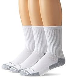 Carhartt Men\'s 3 Pack All-Season Cotton Crew Work Socks,  White, Shoe: 6-12