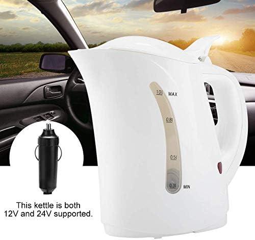 Bouilloire électrique 12 24V 1L Portable plus léger Durable Arrêt automatique de l'eau Chauffe-eau Saute d'eau chaude Bouilloire for voiture de voyage Cafetière Xping