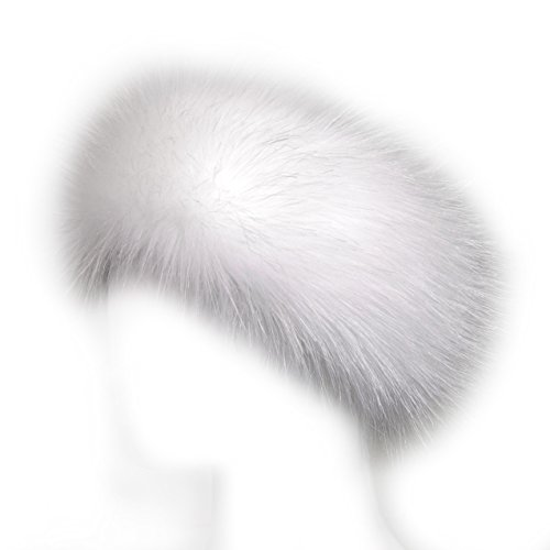 Futrzane Faux Fur Headband For Women Winter Earwarmer Earmuff Hat Ski (White)