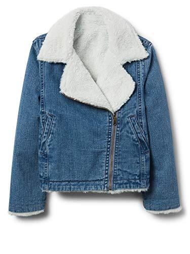 Crazy 8 Girls' Big Long Sleeve Denim Sherpa Jacket, Light wash, M -