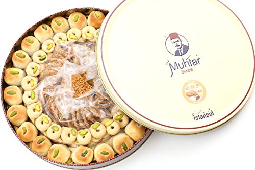 Muhtar Sweets Premium Quality Mix Assortment (26.4 Oz Net) - Mamoul (Dates) -Ghraybeh (Butter Cookies) - Barazek (Sesame Seed Cookies)- Middle Eastern Sweets Gift Box
