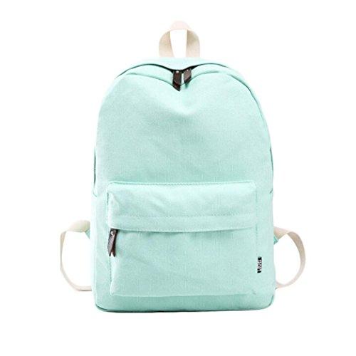 Bag Bag color Travel Transer Rucksack Shoulder Backpack Women School Green Canvas Girl Solid Y5z5O4