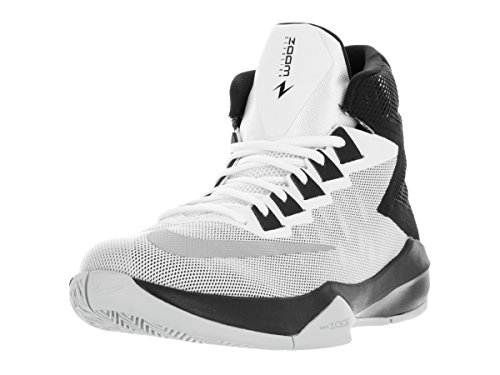 Nike Mens Zoom Devosion White/Metallic Silver/Black Basketball Shoe 10 Men ()