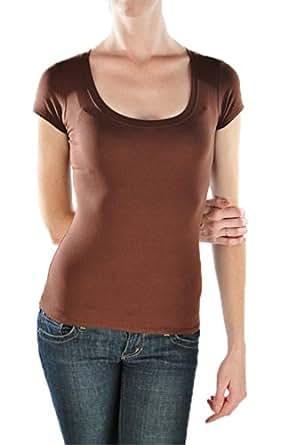 Short Sleeve Scoop Neck Tee T Shirt Cotton Top (Small, Aqua)