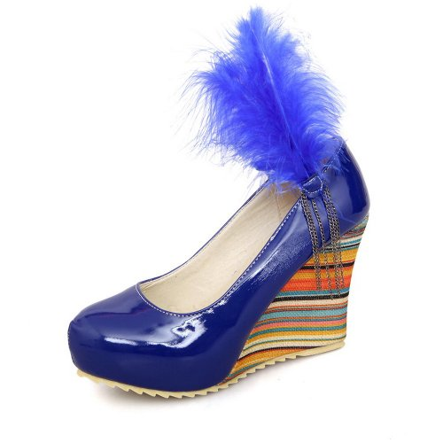 VogueZone009 Girls Closed Round Toe High Heel Wedge Patent Leather PU Solid Pumps Blue BX9utu
