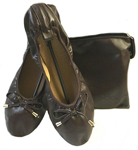 Brown Ballet Flat Shoes - Shoes 18 Women's Foldable Portable Travel Ballet Flat Shoes w/Matching Carrying Case 1180 Brown 7/8