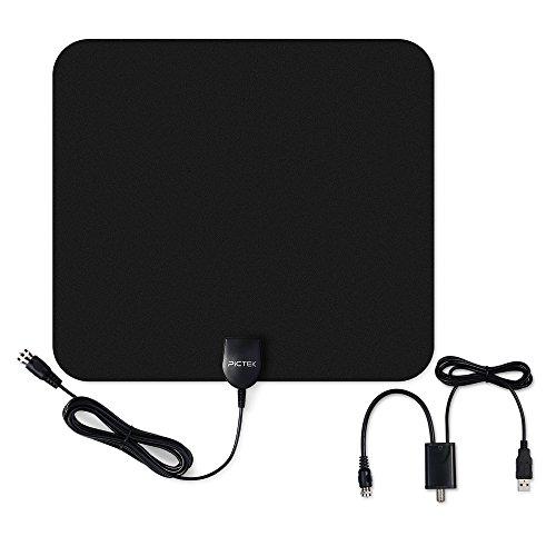 Indoor HDTV Antenna, Pictek Digital TV Antenna 50Miles Long Range with Amplifier Signal Booster, Upgraded Version