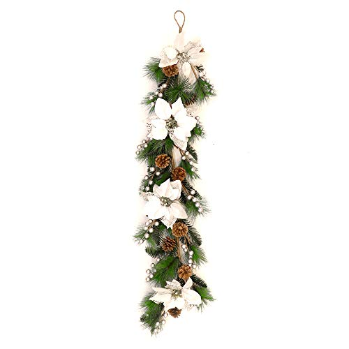 (ALEKO CHDG39PWH Pre-Decorated Holiday Christmas Garland Swag Wall Hanging or Runner Green and Silver)