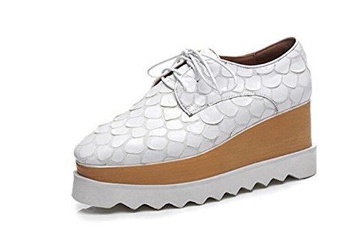 MUYII Zapatos De Plataforma De Mujer Zapatos Casuales De Cuña De Tacón Alto Con Punta Cuadrada (8cm) White