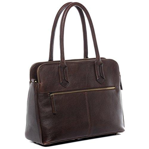 BACCINI® Businesstasche ROSARIA - Damen Umhängetasche groß Ledertasche fit 15 mit gepolstertem Gerätefach- Laptoptasche Damentasche echt Leder braun