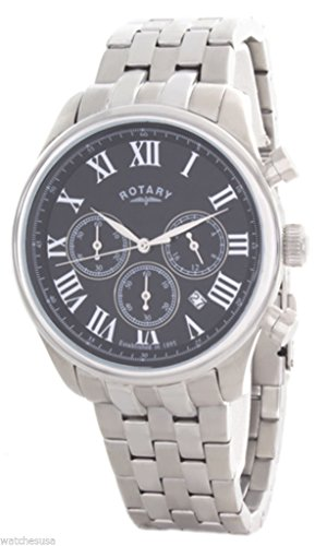 Rotary Men's Black Dial Stainless Steel Bracelet Chronograph Watch GB00405/10