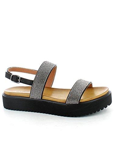 Nero E17 Strass Sandales Bracelet Femmes Caf Gg901 010 Noir Noires Bandes UHwPvP