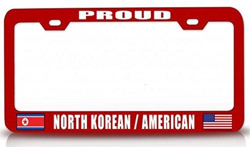 Tollyee Proud North Korean American Nationality Patriotic Steel License Plate Frame Rd -