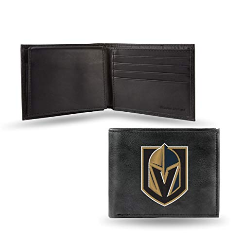 Rico Las Vegas Golden Knights NHL Embroidered Team Logo Black Leather Bi-fold Wallet